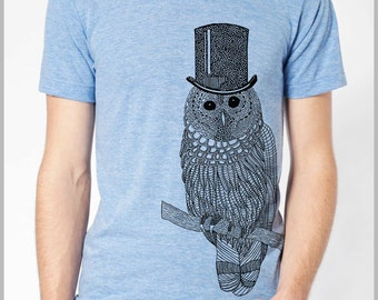 Top hat Owl Men's T Shirt Bird Shirt Animal Art Tee Unisex American Apparel hand drawn hand printed eco friendly xs, s, m, l, xl 9 Color 1-2