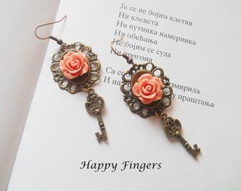 Cameo earrings Victorian earrings Vintage earrings Cameo jewelry Victorian jewelry Vintage jewelry Oval earrings Rose earrings Gift for her