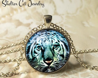 """White Tiger Necklace - 1-1/4"""" Circle Pendant or Key Ring - Handmade Wearable Photo Art Jewelry - Nature Art - White Tiger in Fractals - Gift"""
