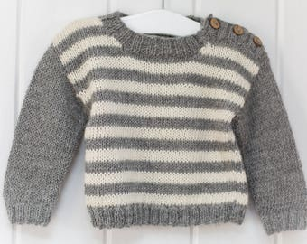 Luxury Alpaca Striped Sweater - Baby, Child, Toddler - Grey-Natural - 100% Alpaca - made to order