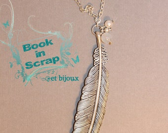 Large silver feather pendant necklace