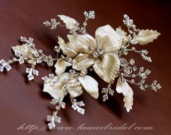 SALE-Bridal Flower hair piece. Gold flower Hair vines clip. old leaves comb. Swarovski Crystal Wedding accessories. Golden small flower clip