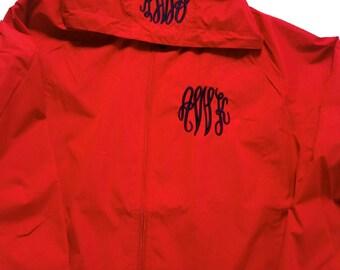 Monogram Rain Jacket - Monogrammed Jacket - Lightweight Jacket - Hooded Jacket - Spring Jacket - Monogram Gift - Personalized Jacket