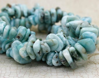 Larimar Chip Gemstone Beads Full Strand (5mm ~ 8mm) for Jewelry Making