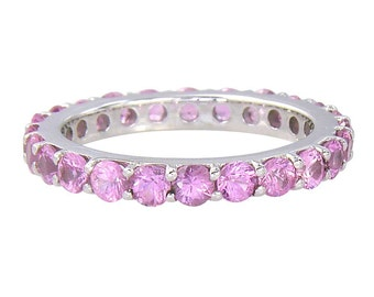 Pink Sapphire Eternity Ring 925 Sterling Silver  : SKU 1862-925
