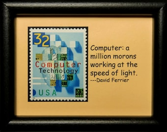 Computer Technology USA -Handmade Framed Postage Stamp Art 3103W