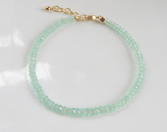 Seafoam chalcedony faceted rondelle bracelet with 14K gold filled closure, gemstone bracelet, minimilast bracelet, graduation gift