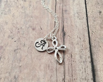 Cross initial necklace - cross jewelry, religious jewelry, christian necklace, silver cross pendant, religious necklace, cross pendant