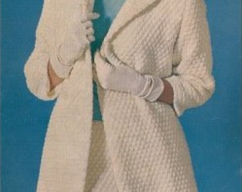 Stylish Coat and Skirt Ensemble, Vintage Crochet Pattern, INSTANT DOWNLOAD PDF