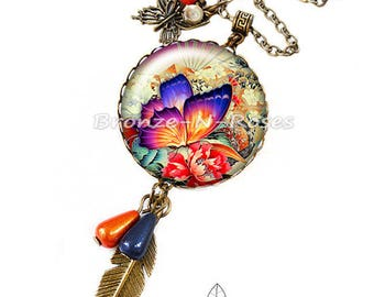 "necklace ""Sublime"" papillon""orange fantasy glass cabochon bronze jewelry"