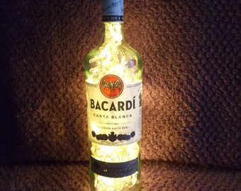 Upcycled Bacardi superior white rum bottle lamp - ideal for home, office, bar, man cave ... ANYWHERE