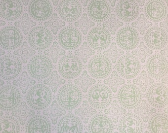 Vintage Wallpaper-1960s delicate green medallions on cream- by Old Stone Mill-by the yard