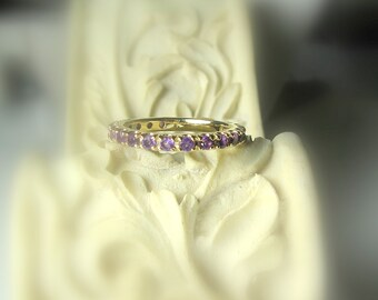 Eternity Band, 14K Gold, Gemstone, Anniversary Band, Made to Order, Stacking Ring, other stones available