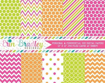 80% OFF SALE Hot Pink Lime Green and Orange Digital Paper Pack Commercial Use Instant Download
