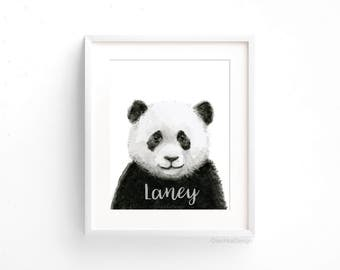 Custom Nursery Art Print Customized Panda Watercolor Baby Animal Nursery Decor Baby Name Wall Art Safari Jungle Animal Prints Baby Shower