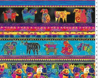 Laurel Burch Fabric Dog & Doggies Dog Border Stripe Y1796-56M