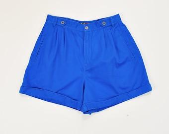 90s Mom Shorts, High Rise Shorts, High Waisted Shorts, 90s Minimal Shorts, Simple Cobalt Blue Shorts, 90s Pleated Cotton Shorts Size 8