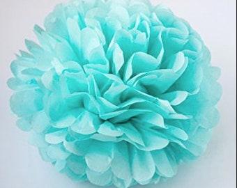 Wholesale Lot of FIVE Tissue Paper Flower Pom Poms AQUA