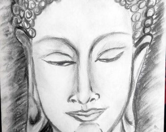 buddha Drawing from chacoal  A4 paper