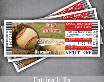 Giants Baseball Wedding Invitation Tickets Sports Theme