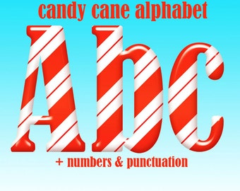 Candy cane Christmas alphabet clipart, striped red and white digital font with letters, numbers and punctuation marks; for commercial use