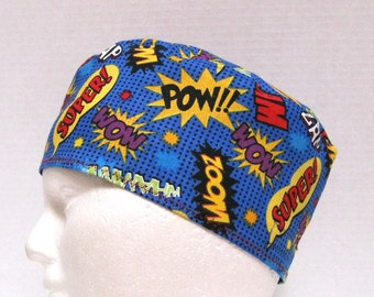 Mens Fun Scrub Hat, Surgical Cap or Chemo Hat with Comic Words