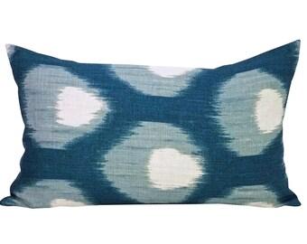 Bukhara lumbar pillow cover in Blue/Blue