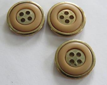 Button * vintage metal gold and orange