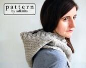 Chunky Hooded Cowl PDF Knitting Pattern, Digital Download
