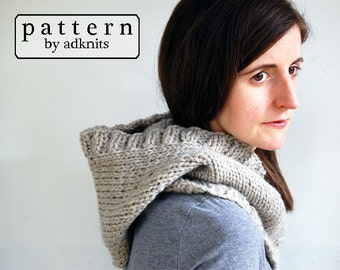 Chunky Hooded Cowl PDF Knitting Pattern, Digital Download