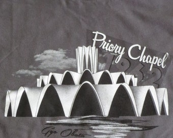 Mens Priory Chapel T-Shirt Gray - STL - MCM Architecture - Multiple Sizes Available