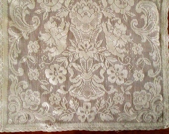 Vintage Lace Table Runner with Cupids