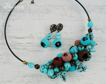 Necklace-choker and earrings with beads from polymer clay and turquoise