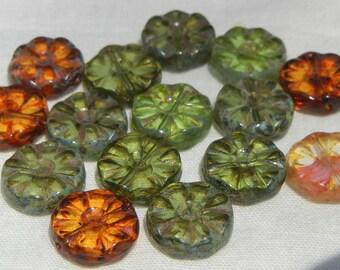 Czech Glass Bead Mix- Flower- Wheel-12mm
