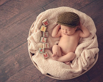 Baby Boy Hat Irish Donegal Cap Newborn Baby Hat Donegal Hat Olive Green Baby Hat Photography Prop Newborn Photo Prop Baby Newsboy Hat