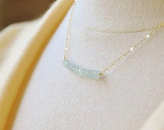 Aquamarine Necklace/ March Birthstone Necklace/ Gemstone Necklace/ Aquamarine Beads Necklace/ Dainty Necklace/ Sex and the City Inspired