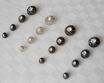 16 attractive glass buttons each with a fine rhinestone  - diff. sizes -