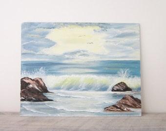 Vintage Oil Painting Beach Waves Crashing on the Rocks