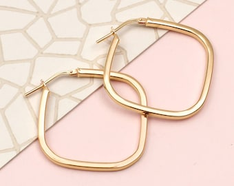 Gold Or Sterling Silver Square Hoop Earrings (HBE66)