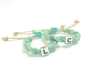 Twin ID Bracelets or Anklets   Custom Adjustable Identification Bracelets - Anklets - for Twin Babies made from Natural HEMP   Baby Gifts