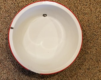 Vintage Red and White Enamelware Pot or Basin