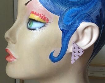 Pink leather stud earrings