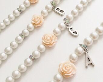 Flower Girl Bracelet, Initial Bracelet, Flower Girl Gift, Bridesmaids Bracelet, Bridesmaids Gifts, Infant Bracelet, Wedding Gifts, Bracelet