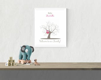 Thumbprint Tree Guest Book Alternative | Owl Baby Shower Guest Book | Nursery Art | Baby Girl Shower Decoration | Guest Sign In Tree - 43677