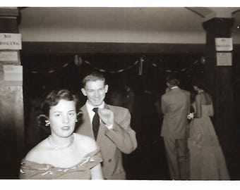 """Vintage Snapshot """"Senior Prom"""" Teenage Girl Boy Double-Breasted Suit Prom Dress Found Vernacular Photo"""