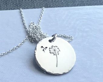 Handstamped charm dandelion necklace Dandelion jewelry Dandelion pendant Sterling dandelion charm Dandelion wish Gift for her