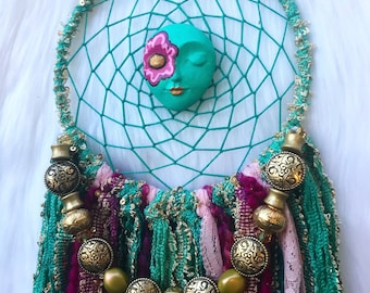 Turquiose/Teal Mint Green, Gold and Pink Bohemian Style Dreamcatcher