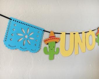 Picado Uno Highchair Banner | First Fiesta Decorations | First Birthday Banner