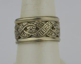 14k White Gold Vintage Open Weave Design Wide Ring/Band Size 8.25