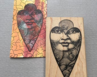 Heart Moon Man Rubber Stamp